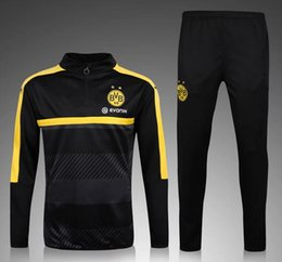 2016 17 Borussia Dortmund Tracksuit jaune Champions League Version Formation Jogging Ensembles de football Combinaisons de football Half Pull Training Sweater