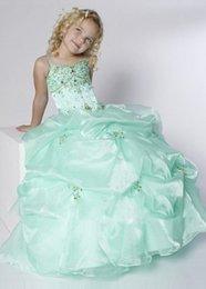 Wholesale 2016 Cute Girls Pageant Dresses for Little Girls Gowns Spaghetti sleeveless Ball Gown floor length Flower Girl Dresses for Weddings