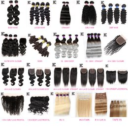 Discount ombre brazilian loose wave closure HC Hair Products Hair Samples Straight Body Curly Deep Loose Water Wave bundles with closure Frontals Gray #613 Blonde Clip in Type in