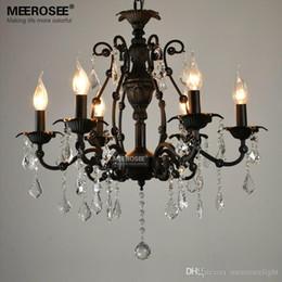 Vintage Black Crystal Pendant Light Fixture 6 lights American Wrought Iron  Pendant Lamp Suspension Hanging Drop Light