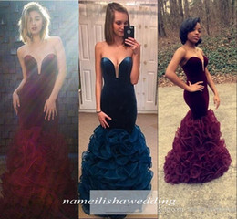 Wholesale Burgundy Mermaid Prom Dresses Long Sexy Backless Cheap Velvet African Arabic Dubai Pageant Party Teens Ruffles Evening Celebrity Gowns