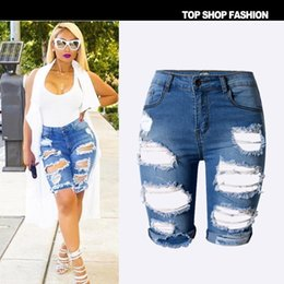 Discount Plus Size Distressed Denim Shorts  2017 Plus Size