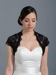 Wholesale Sexy Black Bridal Wraps Jackets Lace Custom Short Sleeves Wedding Bolero Wraps