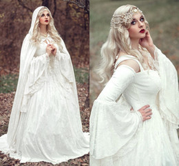 Wholesale 2016 Fairy Celtic Bridal Gowns A Line Full Lace Long Sleeve With Wrap White Medieval Renaissance Wedding Dress Empire Gothic Bridal Dresses