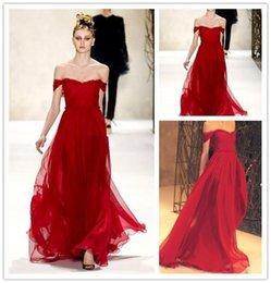 Wholesale 2016 vestido de rojo escarlata por Monique Lhuillier atractivo de la velada hombro Vestidos de gasa vestidos de baile piso de longitud vestido de fiesta barato formal