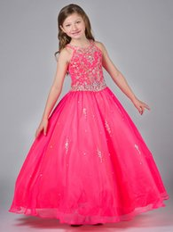 Wholesale Jewel Neck Toddler Girls Ball Dresses Zipper Back Little Girls Pageant Dresses Beaded Bodice Party Dresses For Teens