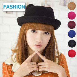 online shopping Vintage Girls Ladies fashion Fascinator Bowknot Floppy Stingy Brim Hat Cute Cat Blend Felt Trilby Bowler Hat Top hat Christmas gift