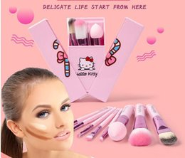 Wholesale Hello kitty Make Up Cosmetic Brush Kit Brush Set Professional Makeup Tools Portable Storage Box Full Set