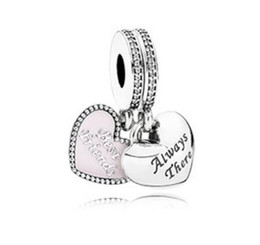 online shopping Fits for Pandora Bracelet Original Sterling Silver beads Best Friends Pendant Charm with clear