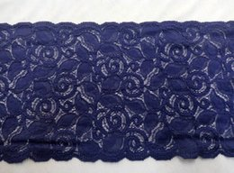 Wholesale New Cording Lace Trims Fabric Purple Blue Flower Lace Spandex Scalloped Width quot Elastic African Fabrics For Cocktail Wedding Dress Sale
