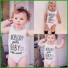 Wholesale Toddler infant baby rompers whitecolor letters print cotton newborn outfits children clothing set fast cheap price
