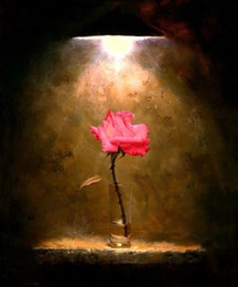Wholesale Pure Handmade Oil Painting Modern floral Art Wall Deco On High quality Canvas in custom sizes A Red Rose under the light