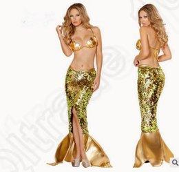 Wholesale 100sets del traje de Cosplay LJJK182 sistema atractivo de lentejuelas Bra sirena Fashtail vestido de la falda de la ropa interior ropa de dormir de la muñeca de la ropa de noche de la sirena
