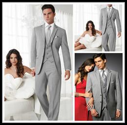 Wholesale 2016 Sexy prata Noivo Smoking dois botões laterais Magro Best Man Wedding Suit Groomsman Homens Ternos Noivo Jacket Pants Tie Vest