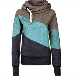 Women Hoodies Sweater 2016 Autumn And Winter Burst Models Women Slim Was Hit Color Stitching Hood Plus Velvet Thick Sweater Y046