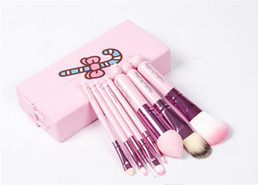 Wholesale 2016 cosmetic brush Factory Outlet Hello Kitty Set Makeup Brush Set Professional Makeup Tools Portable Storage Box Full Set