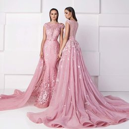 Wholesale 2016 Glamorous Zuhair Murad Evening Dresses with Over Skirts Jewel Sheer Neckline Appliques Beaded Chapel Detachable Train Prom Gowns
