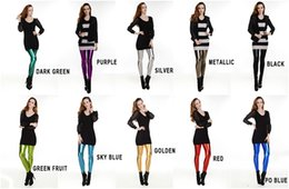 Wholesale Spring And Autumn In Europe And America Big Yards PU Leather Leggings Pants Multicolor Tight Leather Pants Female Nine Points Leggings