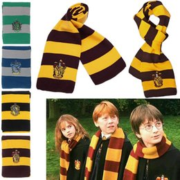 Moda Harry Potter cachecol da Grifinória Hufflepuff Sonserina cachecóis tricotados Cosplay presente morno Stripe Scarve