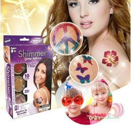 Wholesale 2016 Newest Shimmer Glitter Tattoos Professional Body Art Stick Paper Glitter Temporary Tattoos Papers Nail Kit