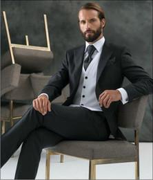 Discount Mens Black Suit Silver Vests   2017 Mens Black Suit ...