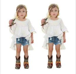 Wholesale Fashion Girls Clothes Sets Girl White Tuxedo Dress Cowboy Shorts Kids Outfits Baby Girl Clothing Child Suit T sets