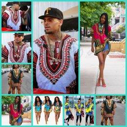 Hipster Hommes design africain de mode africain traditionnel imprimé Dashiki T tee shirt robe bazin femmes robe HHA1066