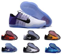 2016 zapatos de Kobe XI Elite baja baloncesto de los hombres originales del 100% de la nueva llegada zapatillas de deporte baratos Retro Tejiendo Kobe 11 Botas Sport Tamaño del EUR 40-46