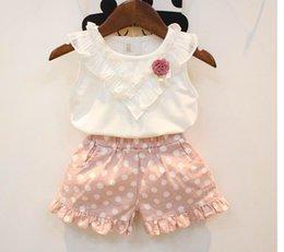 Wholesale 2016 Summer New Girl Sets Cotton Sleeveless T shirt Dot Shorts Piece Sets Children Clothing T P5055