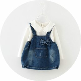 Wholesale girls outfits T shrit suspender denim dress set children boutique clothing Autumn years baby girls pieces set