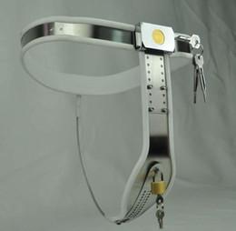 Wholesale Feminino forma de T Curva cintura Castidade Devices aço inoxidável ajustável Cinto de castidade Sex Bondage por Mulheres sexo BDSM Brinquedos