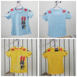 Wholesale 2016 latest design baby girls lovely T shirt summer children cartoon clothes zootopia rabbit with ears cute babies top tees kids clothing