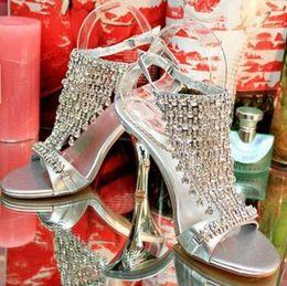 Wholesale Women s shoes Summer Crystal rhinestone Wedding Shoe low heeled Wedding Bridesmaid Shoes Prom Party Dress Sandals Diamond Slipper High Heels