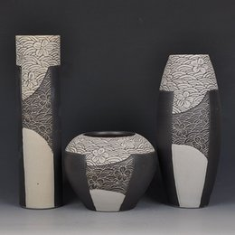 Jingdezhen Ceramic Color Glaze Vase Fambe Three Piece Home Furnishing  Classical Handmade Creative Crafts Decoration Decoration