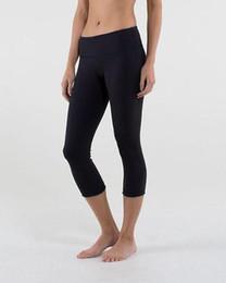 Wholesale Brand Logo Lulu Crop Yoga Gym Elastic Pants Women Sport Fitness Leggings Tights Sportswear Cropped Trousers Size