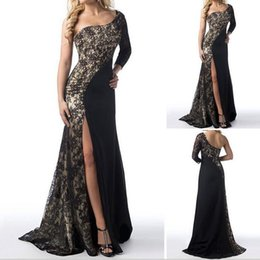 Wholesale Summer Sexy Single sleeved Lace Panelled irregular Split Trailing Long Prom Dress Women Evening Gowns Party Maxi cocktail Dresses