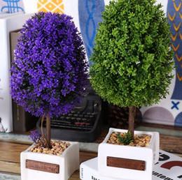 Creative Zakka Crafts Rural Ceramic Pot Purple Green Artficial Tree Plant Floral Coffee Bar Home Decor