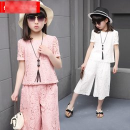 Wholesale 2016 Summer New Style Girls Fashion Hollow Out Lace Casual Outfit Round Neck T shirt And Wide Leg Pants Pieces Set Childrens Clothing