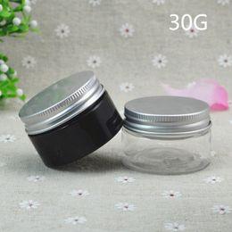 Wholesale 100pcs g Aluminum Cap Plastic Cosmetic Jar Dark Brown Clear Container Cream Makeup Container Factory Plastic jar