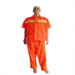 Wholesale Short sleeve with Orange sanitation safety reflective suit sanitation smock Workwear Uniforms Clothing