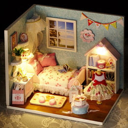 2016 new wooden dollhouse furniture kids toys handmade gift diy doll house kits with led stuff home decor craft doll houses miniature h009 cheap wooden cheap wooden dollhouse furniture