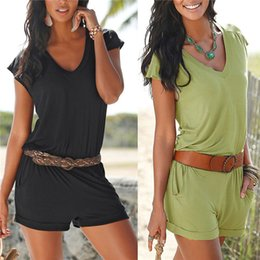 Wholesale New Arrivals Women s Lady s Jumpsuits Rompers Clothing Sleeveless Deep V Cotton Casual Beach Summer ED332