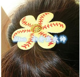 Wholesale 2016 fashion Softball Flower Accessory and hair clip softball hair bows softball hairbow baseball hairbow hairclips