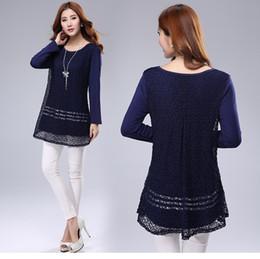 Wholesale Women Long Sleeve lace loose tops Blouse dress plus size M L XL XXL XL XL XL