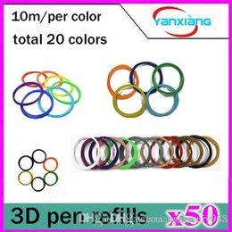 Discount pen refills blue color 50pcs High quality 3D Print PLA Filament Consumables 1.75mm 10M roll 20 Color Pack for 3D Printer Pen Filament Refills YX-CL-01