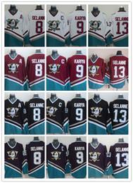 Cord NHL Anaheim Ducks # 8 Teemu Selanne / 9 Paul Kariya / 13 Teemu Selanne Blanco Rojo Negro Rojo CCM Hockey Jersey Cosido Orden de la mezcla