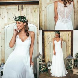 Wholesale 2016 New Summer Boho Wedding Dresses Spaghetti Straps Lace Chiffon Floor Length Bohemian Beach Bridal Gowns Covered Button BA2687