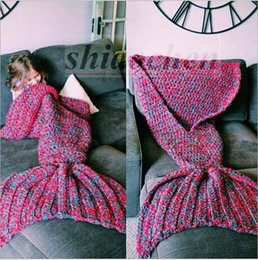 Wholesale Kids Handmade Mermaid Tail Blankets Crochet Mermaid Blankets Shark Mermaid Mail Sleeping Bags Cocoon Mattress Knit Sofa Blankets New A592