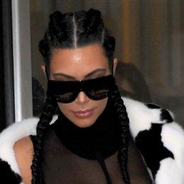 Wholesale New Oversized Rivet ADELE Brand Designer Celebrity Kim Kardashian Fashion Women Sunglasses Sexy Sunglasses Flat Top Lady Female L152