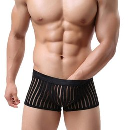 Wholesale Men Sexy Boxers Lingeries Striped Transparent See Through Underwear Shorts Crotchless Panties